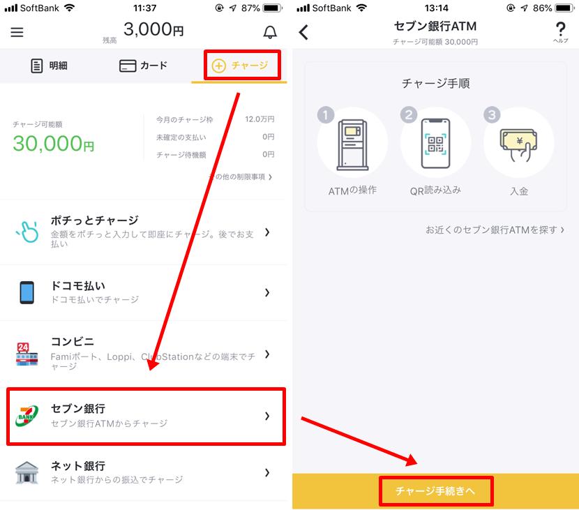 バンドルカード チャージ方法 セブン銀行1