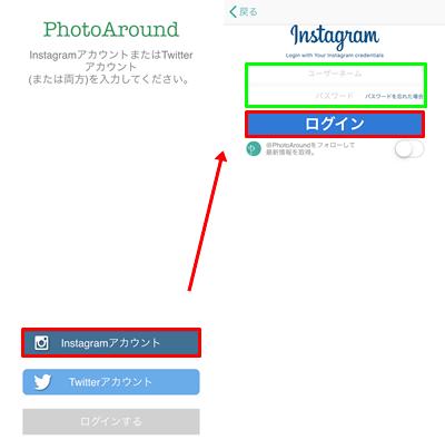 アプリ「PhotoAround」でログイン